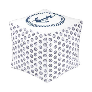 Anchors Away Sailing Theme Cube Pouf