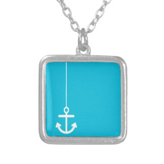 ANCHORS AWAY SAILOR BLUE WHITE VECTOR GRAPHICS BAC SILVER PLATED NECKLACE