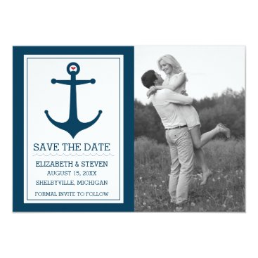 Beach Themed Anchors Away - Save The Date Card