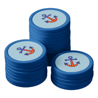 Anchors Away Set Of Poker Chips