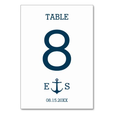 Beach Themed Anchors Away - Table Number Card