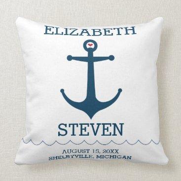 Beach Themed Anchors Away Throw Pillow