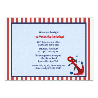 Anchors Aweigh Birthday Party Invitation