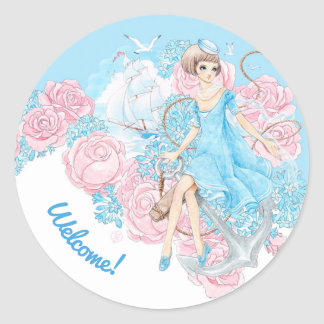 Anchors Aweigh (blue) Classic Round Sticker