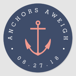 Anchors Aweigh | Coral & Navy Nautical Baby Shower Classic Round Sticker