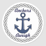 Anchors Aweigh Envelope Seals Classic Round Sticker