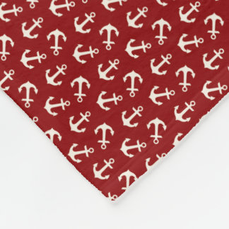 Anchors Aweigh Nautical Pattern Red Fleece Blanket