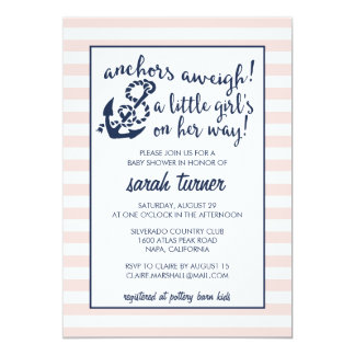 Anchors Aweigh! Nautical Pink Girl Baby Shower Card