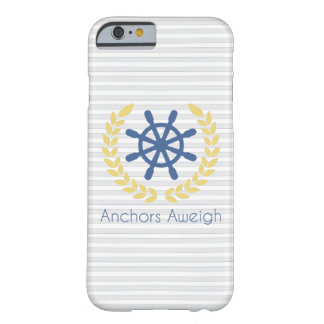 Anchors Aweigh Nautical Ships Wheel Stripes Barely There iPhone 6 Case