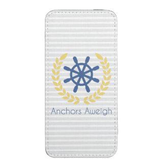 Anchors Aweigh Nautical Ships Wheel Stripes