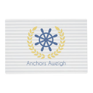 Anchors Aweigh Nautical Ships Wheel Stripes Placemat