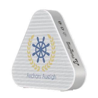 Anchors Aweigh Nautical Ships Wheel Stripes Speaker