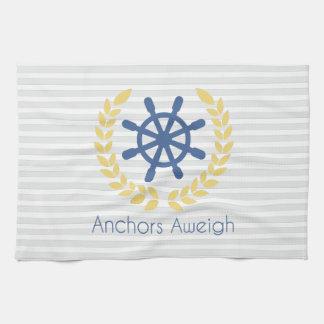 Anchors Aweigh Nautical Ships Wheel Stripes Towel