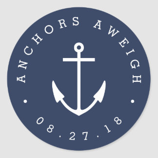 Anchors Aweigh | Navy Nautical Baby Shower Classic Round Sticker