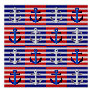 ANCHORS AWEIGH (navy silver red & blue) ~~~.jpg Poster