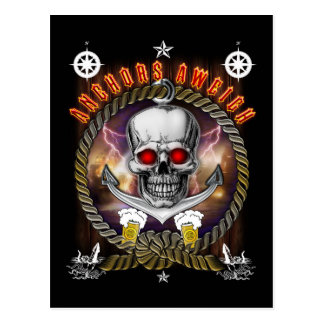 Anchor's aweigh pirate skull with Beer Postcard
