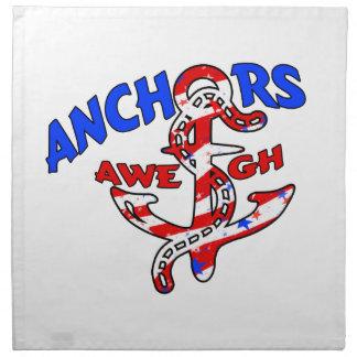 Anchors Aweigh Red White Blue Stars Stripes Napkin