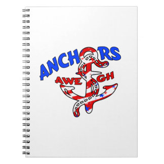 Anchors Aweigh Red White Blue Stars Stripes Notebook