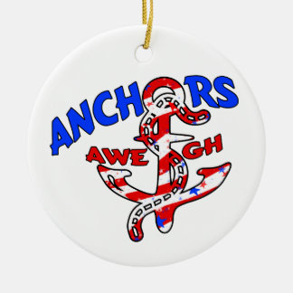 Anchors Aweigh Red White Blue Stars Stripes Christmas Tree Ornament