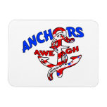 Anchors Aweigh Red White Blue Stars Stripes Flexible Magnet