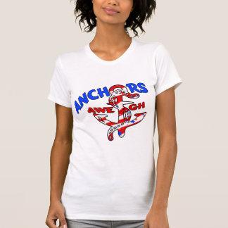 Anchors Aweigh Red White Blue Stars Stripes T Shirt