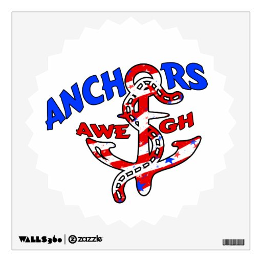Anchors Aweigh Red White Blue Stars Stripes Room Decal