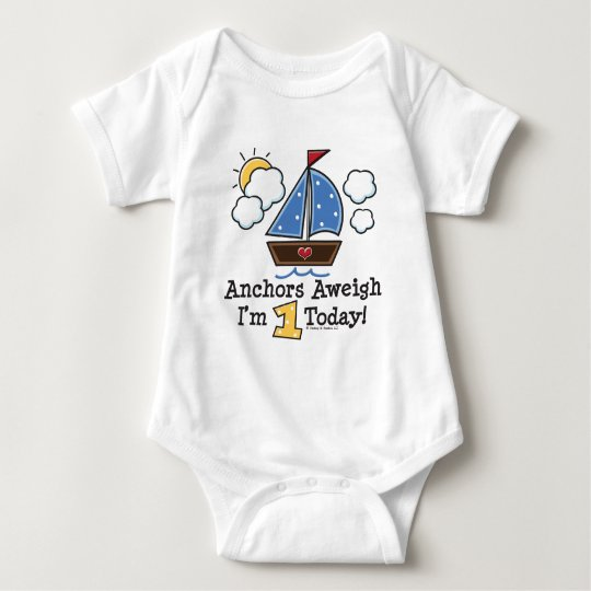 Anchors Aweigh Sailboat 1st Birthday Baby Bodysuit
