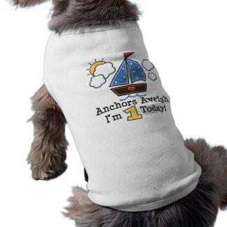Anchors Aweigh Sailboat 1st Birthday Dog T-shirt