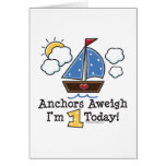 Anchors Aweigh Sailboat 1st Birthday Invitations Card