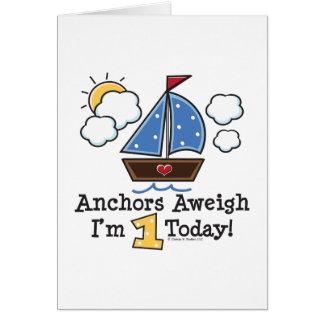 Anchors Aweigh Sailboat 1st Birthday Invitations Greeting Card
