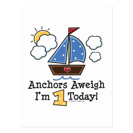Anchors Aweigh Sailboat 1st Birthday Invites Postcard