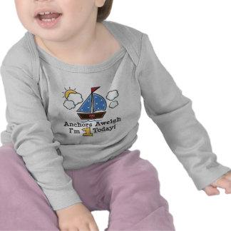 Anchors Aweigh Sailboat 1st Birthday Long Sleeve T Tshirt