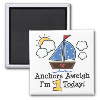 Anchors Aweigh Sailboat 1st Birthday Magnet