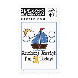 Anchors Aweigh Sailboat 1st Birthday Stamps