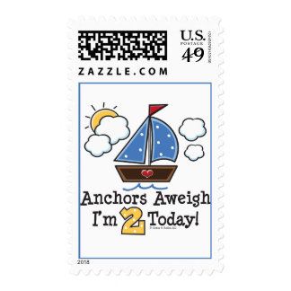 Anchors Aweigh Sailboat 2nd Birthday Postage Stamp