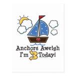 Anchors Aweigh Sailboat 3rd Birthday Invites Post Card