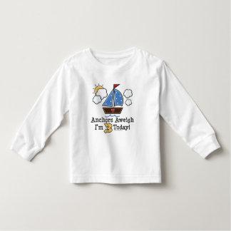 Anchors Aweigh Sailboat 3rd Birthday Long Sleeve T Toddler T-shirt