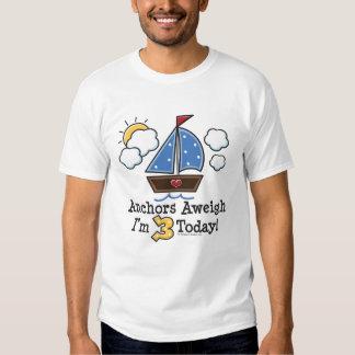 Anchors Aweigh Sailboat 3rd Birthday Tee Shirt
