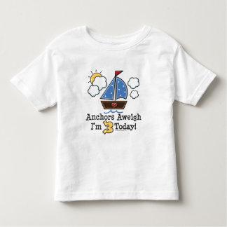 Anchors Aweigh Sailboat 3rd Birthday Tshirt