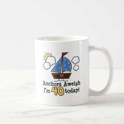 Anchors Aweigh Sailboat 40th Birthday Mug