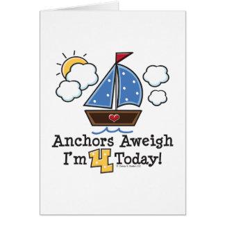 Anchors Aweigh Sailboat 4th Birthday Invitations
