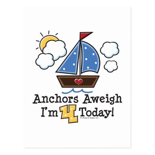 Anchors Aweigh Sailboat 4th Birthday Invites Postcard