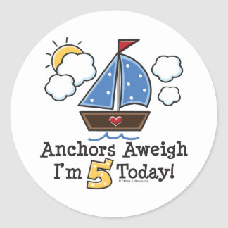 Anchors Aweigh Sailboat 5th Birthday Stickers