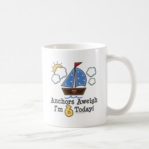 Anchors Aweigh Sailboat 6th Birthday Mug