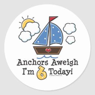 Anchors Aweigh Sailboat 6th Birthday Stickers