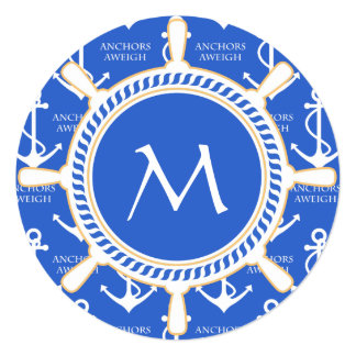 Anchors Aweigh Sailing Theme Coastal Pattern Custom Invitations