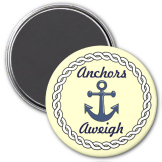 Anchors Aweigh Stateroom Door Marker 3 Inch Round Magnet