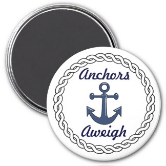 Anchors Aweigh White 3 Inch Round Magnet