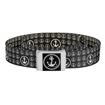 Beach Themed Anchors Black and Sepia Reversible Belt