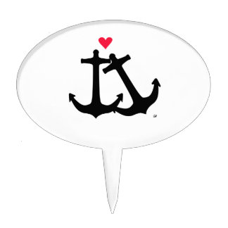 Anchors In Love Cake Topper